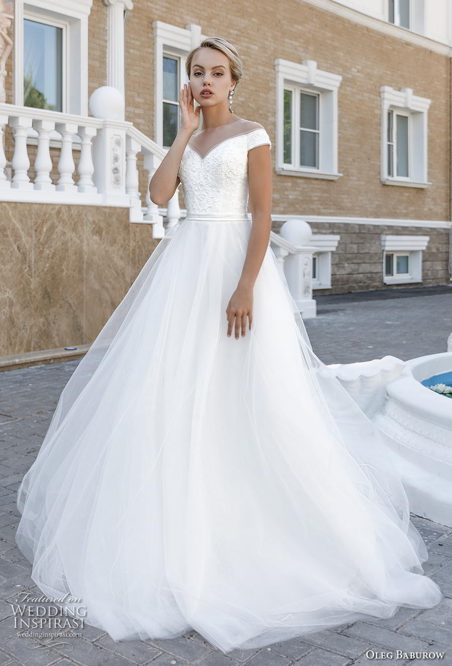oleg baburow 2020 bridal cap sleeves illusion jewel v neck heavily embellished bodice romantic a  line wedding dress chapel train (18) mv