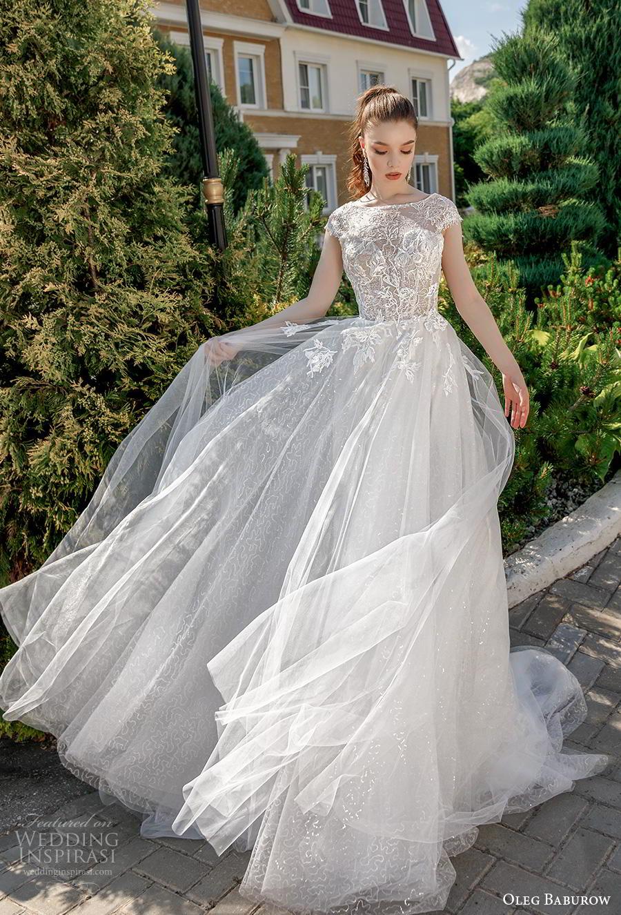 oleg baburow 2020 bridal cap sleeves jewel neckline heavily embellished bodice romantic soft a  line wedding dress lace button back chapel train (4) mv