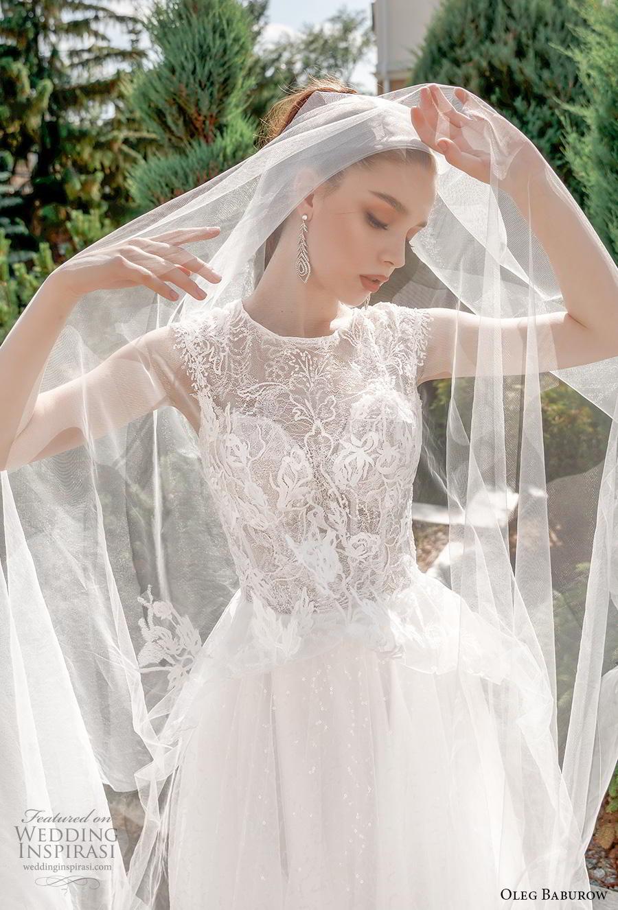 oleg baburow 2020 bridal cap sleeves jewel neckline heavily embellished bodice romantic soft a  line wedding dress lace button back chapel train (4) zv