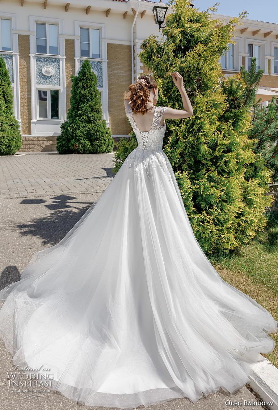 oleg baburow 2020 bridal cap sleeves v neck heavily embellished bodice romantic a  line wedding dress corset back chapel train (16) bv