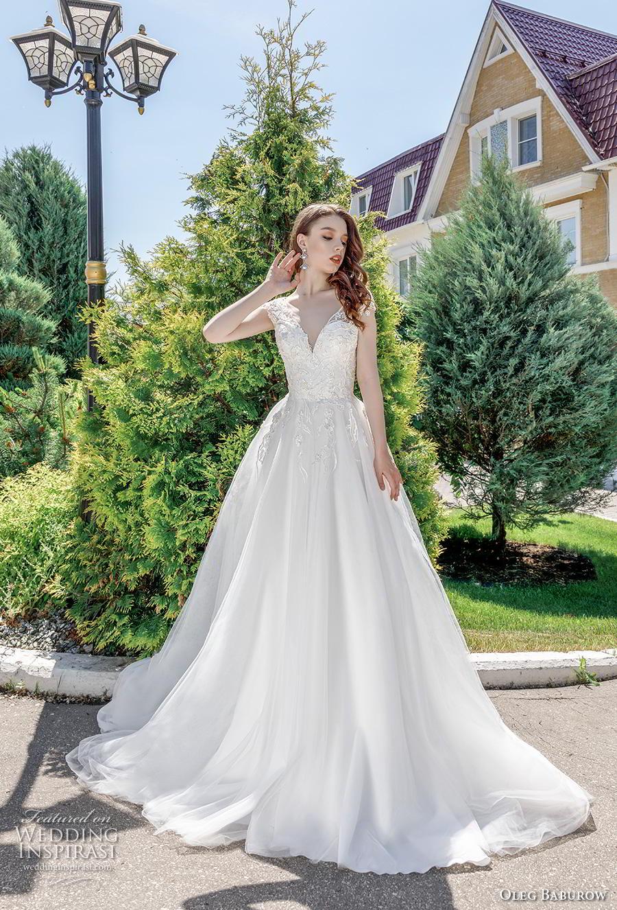 oleg baburow 2020 bridal cap sleeves v neck heavily embellished bodice romantic a  line wedding dress corset back chapel train (16) mv