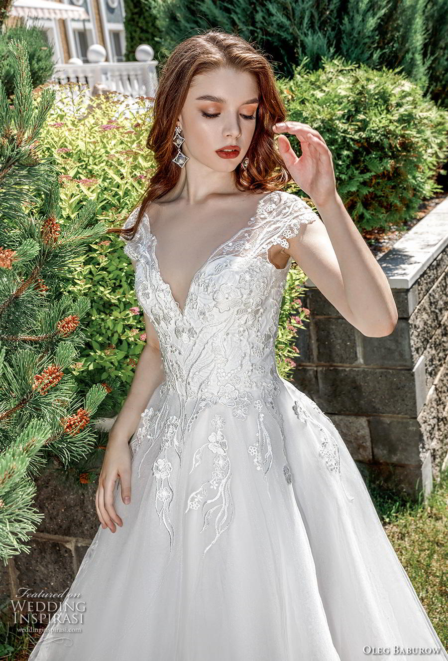 oleg baburow 2020 bridal cap sleeves v neck heavily embellished bodice romantic a  line wedding dress corset back chapel train (16) zv
