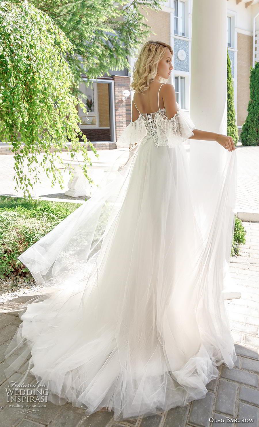 oleg baburow 2020 bridal cold shoulder butterfly sleeves square neckline heavily embellished bodice romantic a  line wedding dress mid back chapel train (3) bv