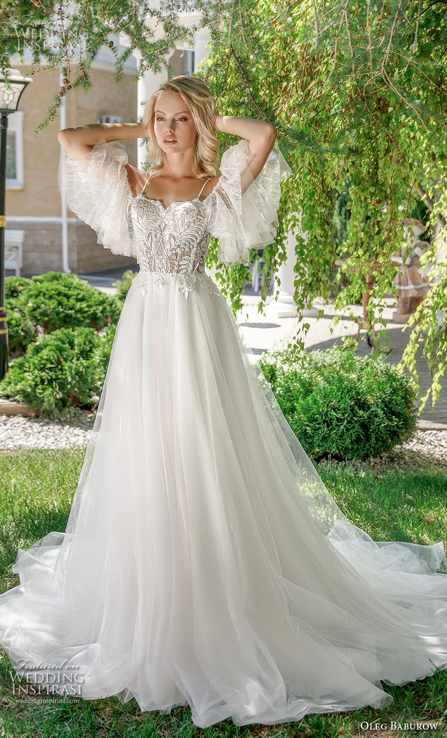 oleg baburow 2020 bridal cold shoulder butterfly sleeves square neckline heavily embellished bodice romantic a  line wedding dress mid back chapel train (3) mv