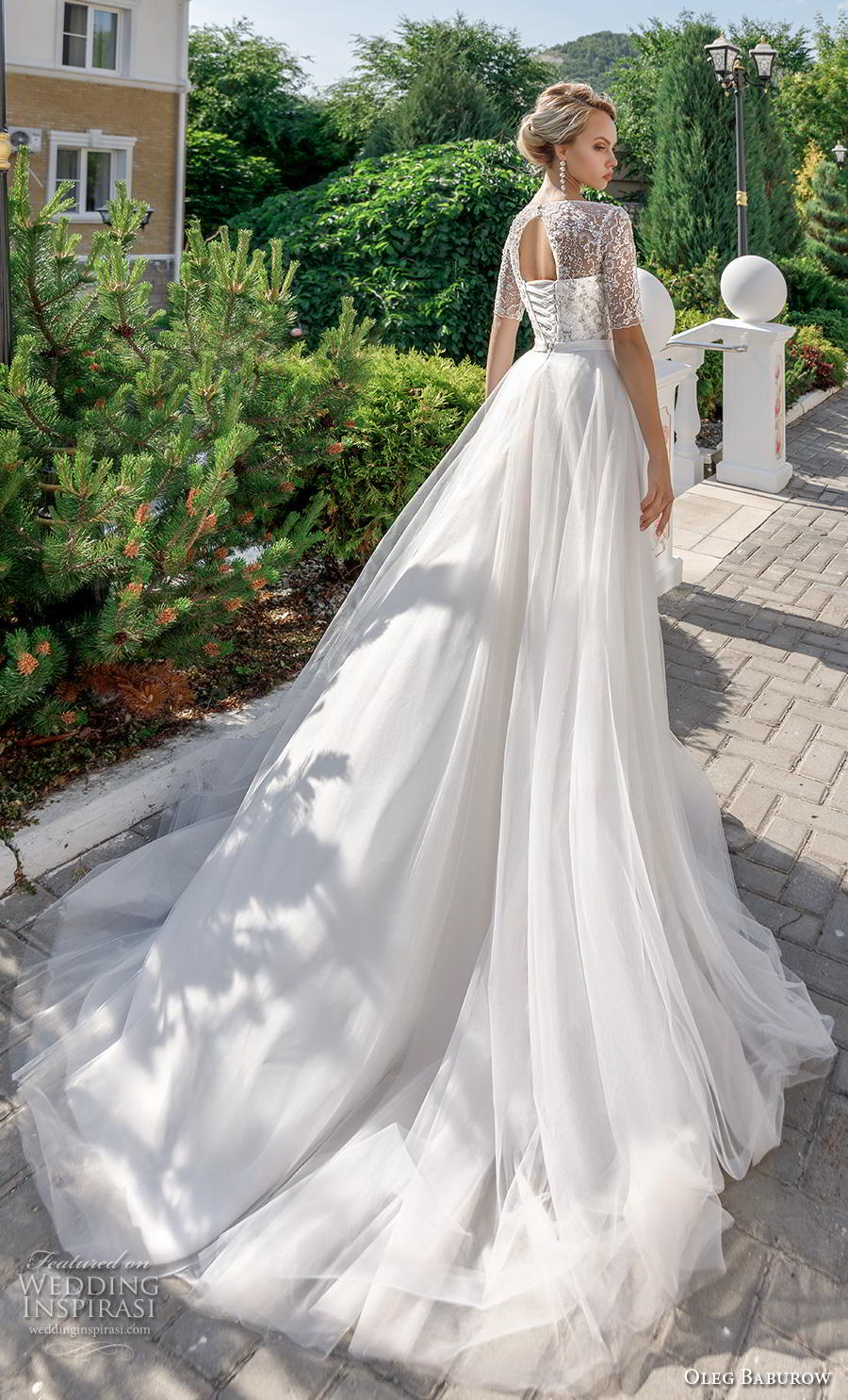 oleg baburow 2020 bridal half sleeves illusion jewel sweetheart neckline heavily embellished bodice romantic soft a  line wedding dress keyhole corset back chapel train (7) bv