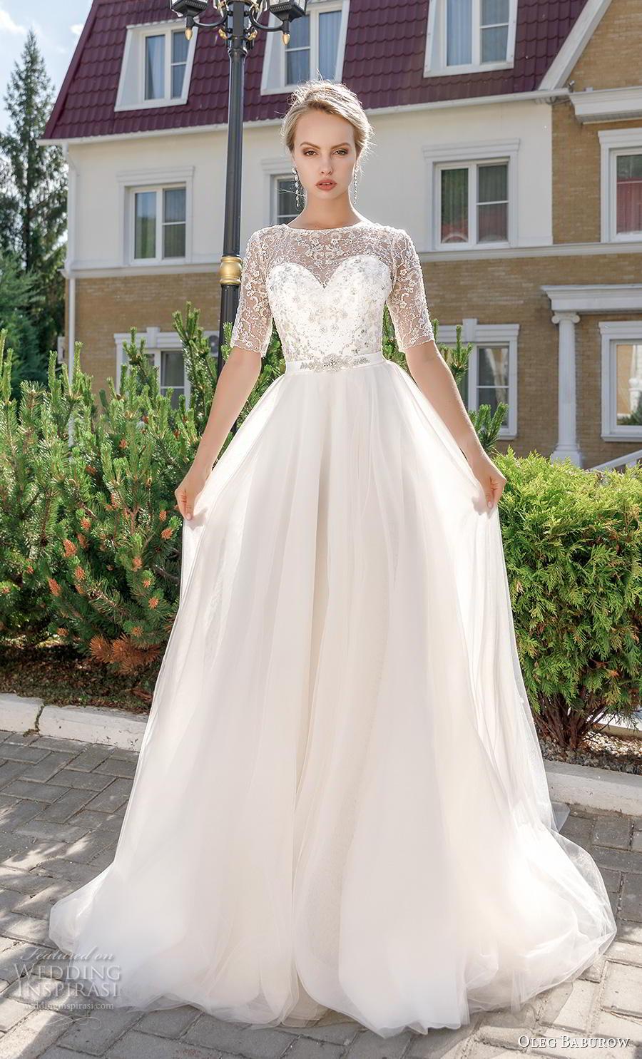 oleg baburow 2020 bridal half sleeves illusion jewel sweetheart neckline heavily embellished bodice romantic soft a  line wedding dress keyhole corset back chapel train (7) mv