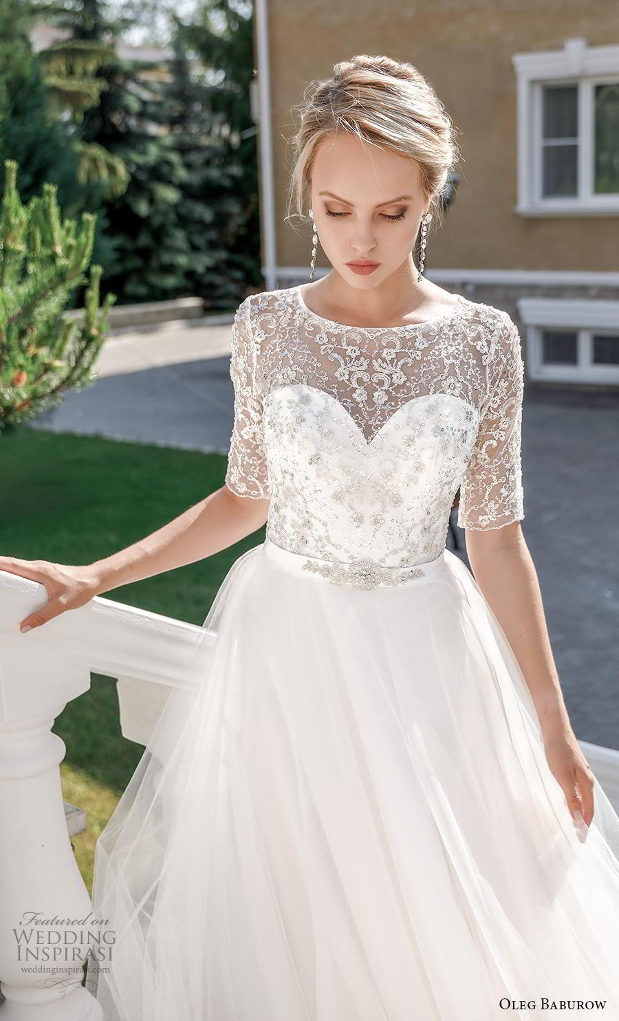 oleg baburow 2020 bridal half sleeves illusion jewel sweetheart neckline heavily embellished bodice romantic soft a  line wedding dress keyhole corset back chapel train (7) zv