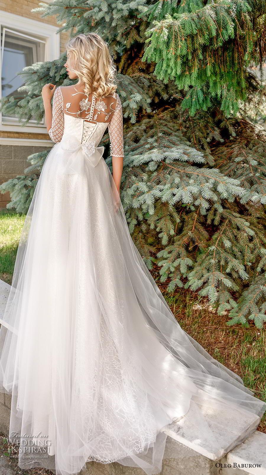 oleg baburow 2020 bridal half sleeves illusion jewel sweetheart neckline heavily embellished bodice romantic soft a  line wedding dress sheer button back chapel train (1) bv