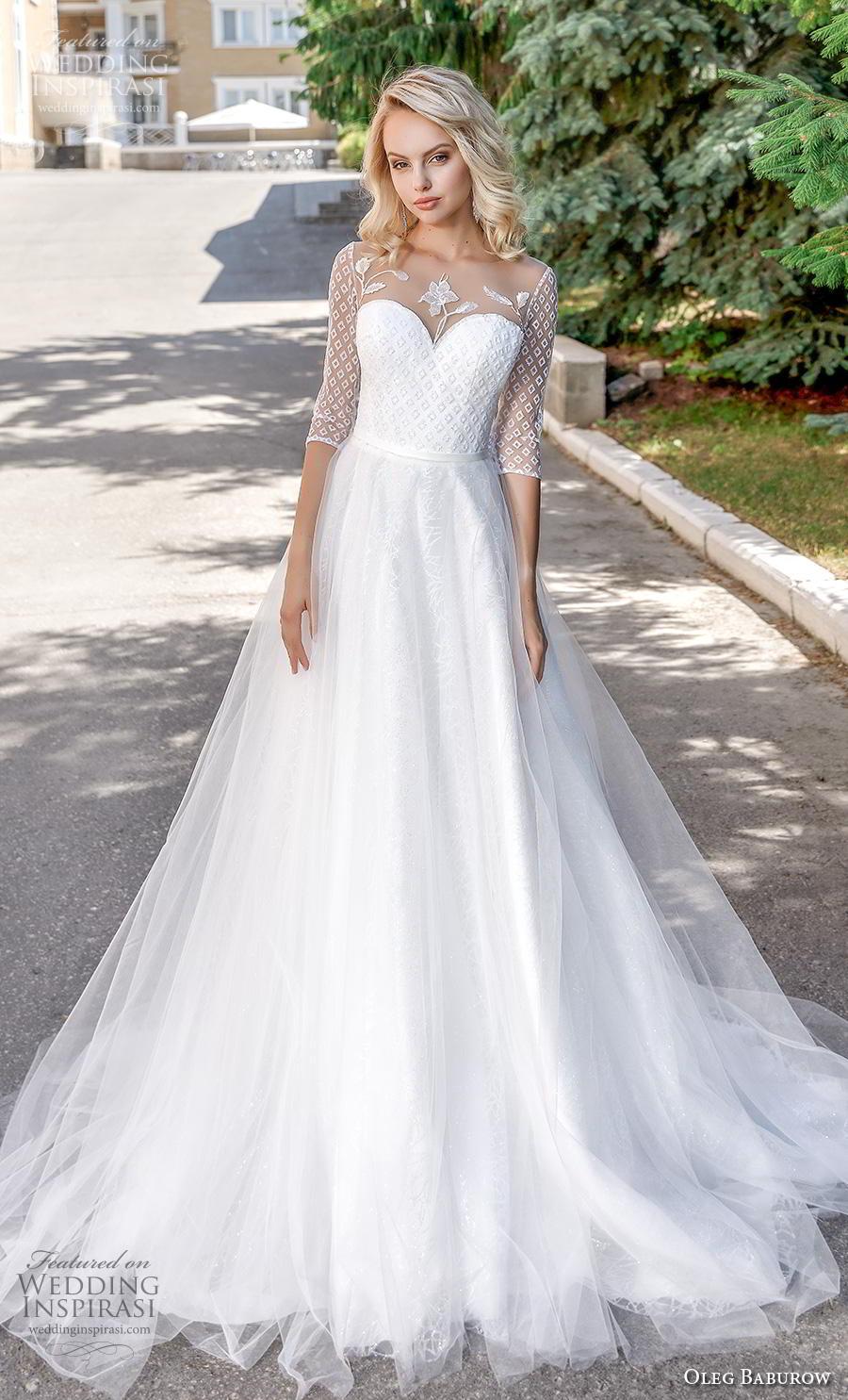 oleg baburow 2020 bridal half sleeves illusion jewel sweetheart neckline heavily embellished bodice romantic soft a  line wedding dress sheer button back chapel train (1) mv