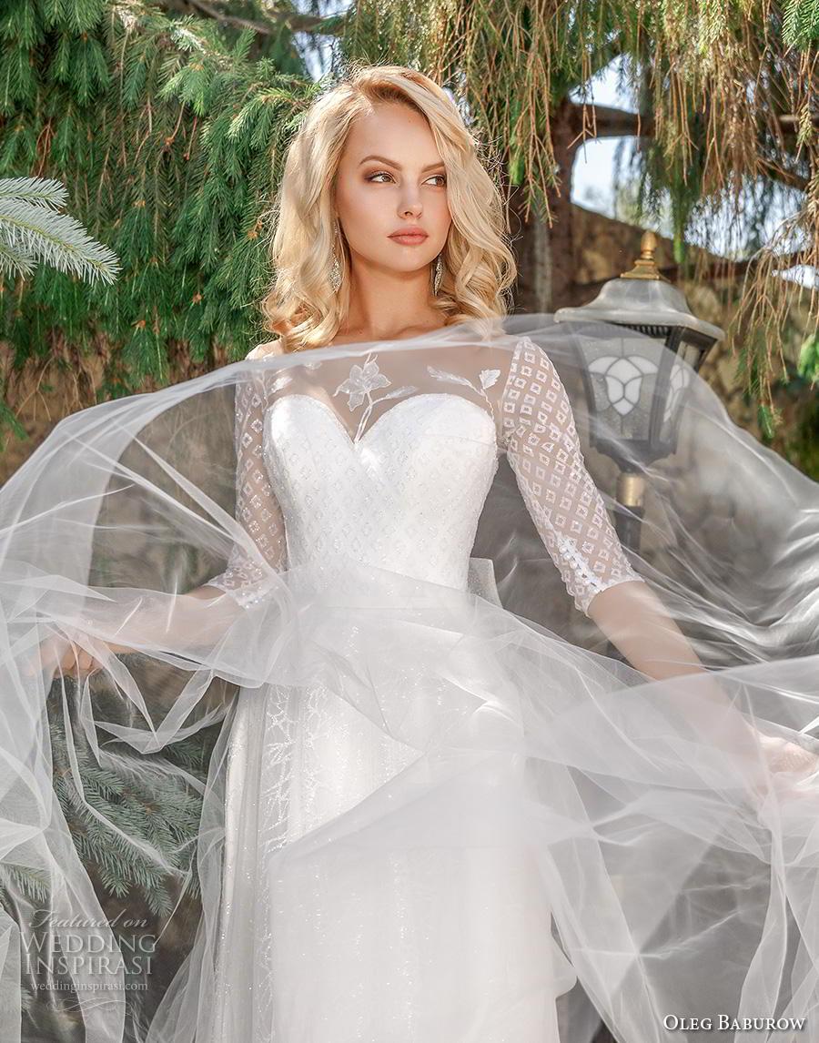 oleg baburow 2020 bridal half sleeves illusion jewel sweetheart neckline heavily embellished bodice romantic soft a  line wedding dress sheer button back chapel train (1) zv
