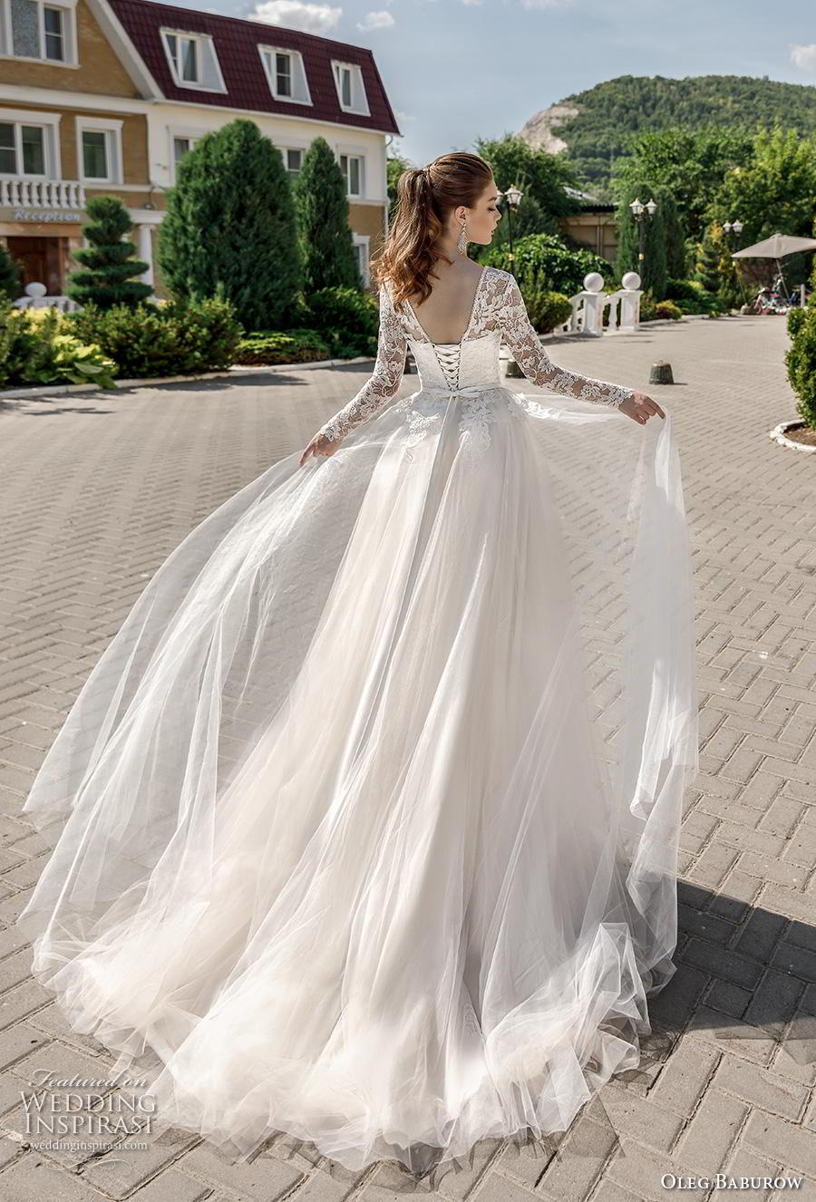 oleg baburow 2020 bridal long sleeves illusion bateau sweetheart neckline heavily embellished bodice romantic a  line wedding dress corset back chapel train (11) bv