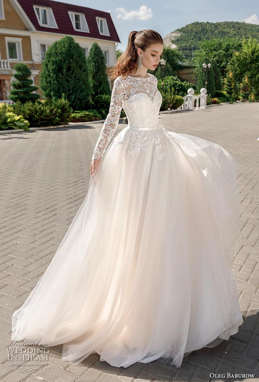 oleg baburow 2020 bridal long sleeves illusion bateau sweetheart neckline heavily embellished bodice romantic a  line wedding dress corset back chapel train (11) mv