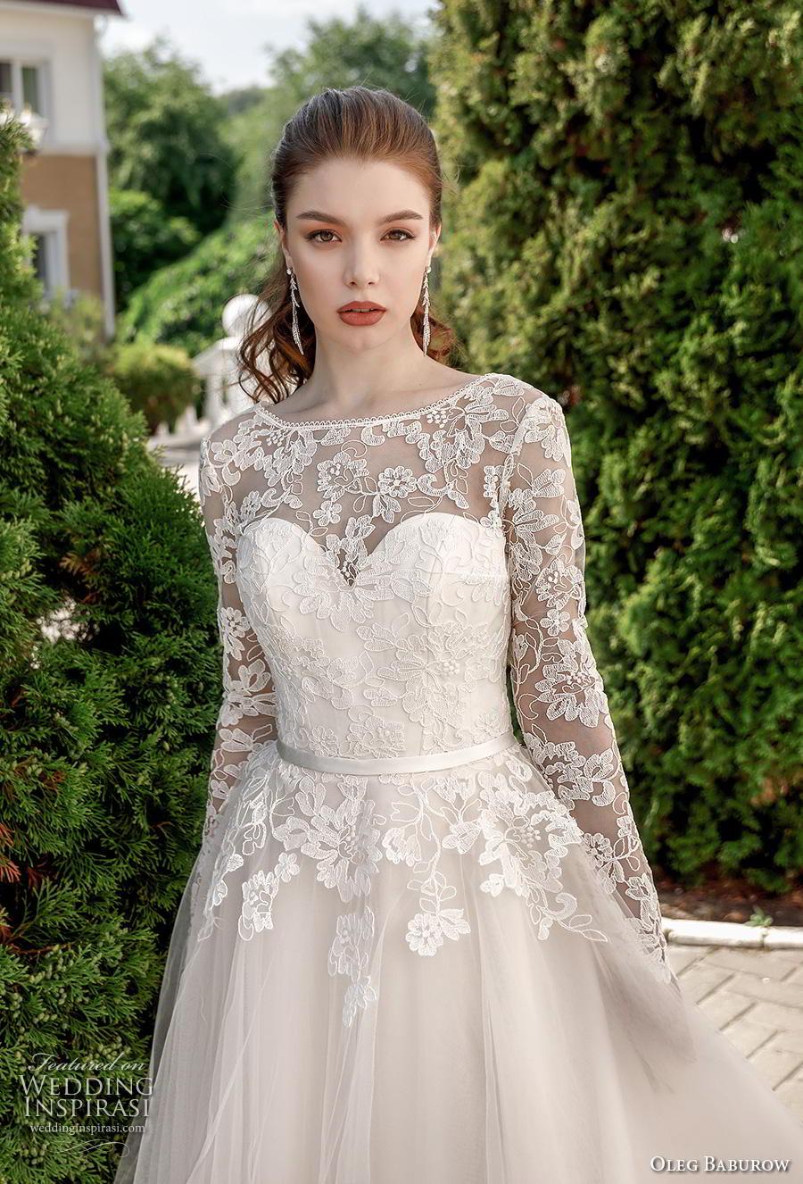 oleg baburow 2020 bridal long sleeves illusion bateau sweetheart neckline heavily embellished bodice romantic a  line wedding dress corset back chapel train (11) zv