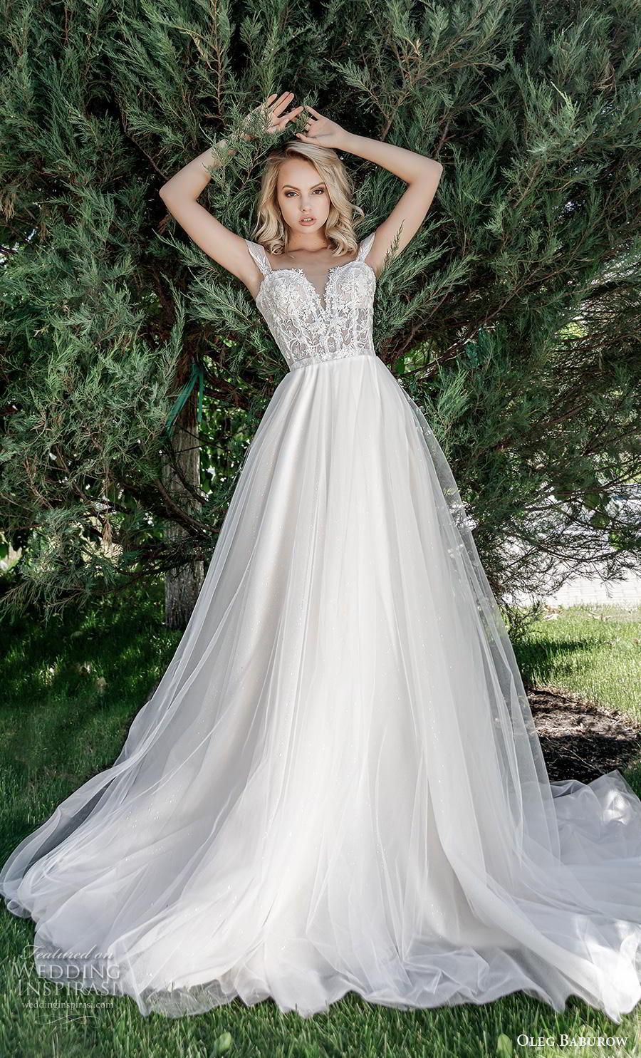 oleg baburow 2020 bridal off the shoulder sweetheart neckline heavily embellished bodice romantic a  line wedding dress mid back chapel train (13) mv
