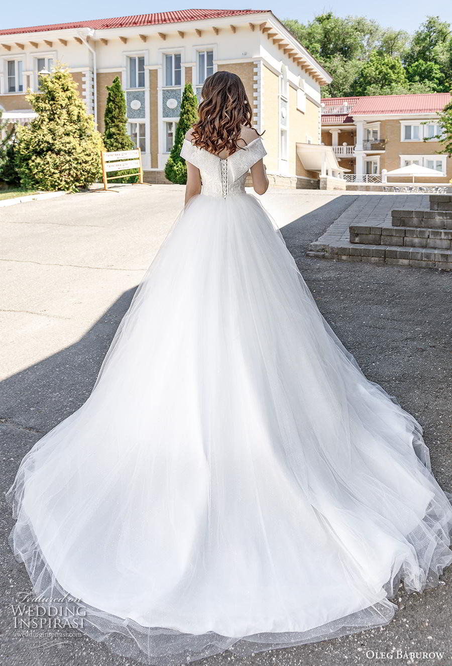oleg baburow 2020 bridal off the shoulder v neck heavily embellished bodice princess ball gown a  line wedding dress chapel train (2) bv