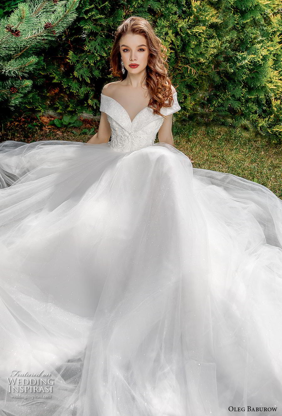 oleg baburow 2020 bridal off the shoulder v neck heavily embellished bodice princess ball gown a  line wedding dress chapel train (2) mv