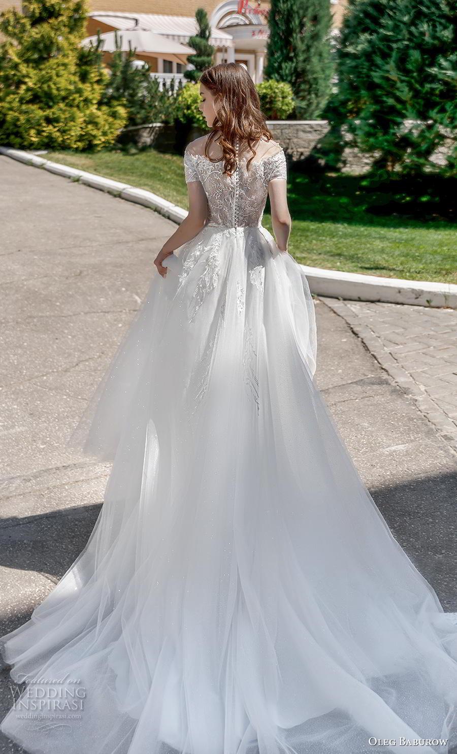 oleg baburow 2020 bridal short sleeves off the shoulder heavily embellished bodice romantic a  line wedding dress lace button back chapel train (6) bv