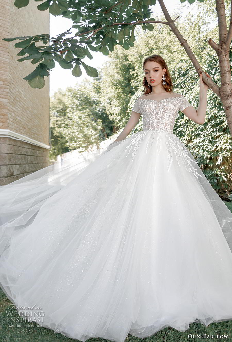 oleg baburow 2020 bridal short sleeves off the shoulder heavily embellished bodice romantic a  line wedding dress lace button back chapel train (6) mv