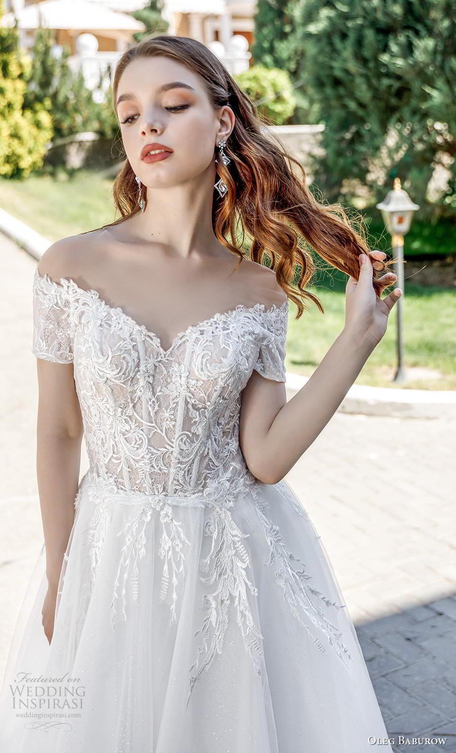 oleg baburow 2020 bridal short sleeves off the shoulder heavily embellished bodice romantic a  line wedding dress lace button back chapel train (6) zv