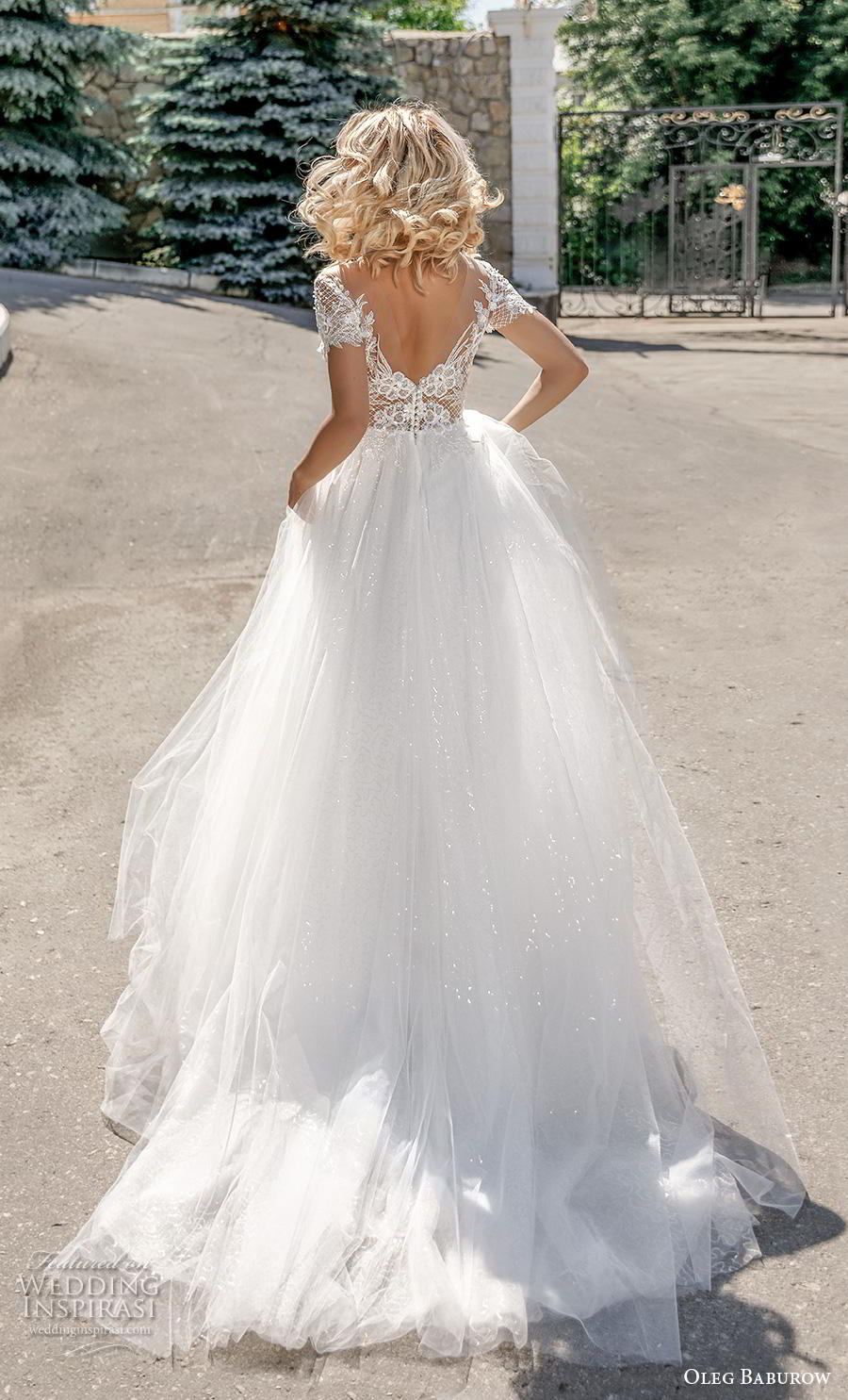 oleg baburow 2020 bridal short sleeves v neck heavily embellished bodice romantic a  line wedding dress v back chapel train (14) bv