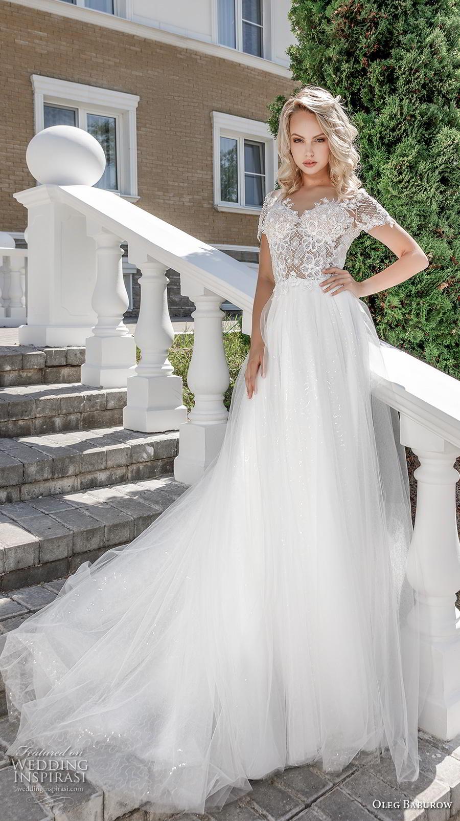 oleg baburow 2020 bridal short sleeves v neck heavily embellished bodice romantic a  line wedding dress v back chapel train (14) mv