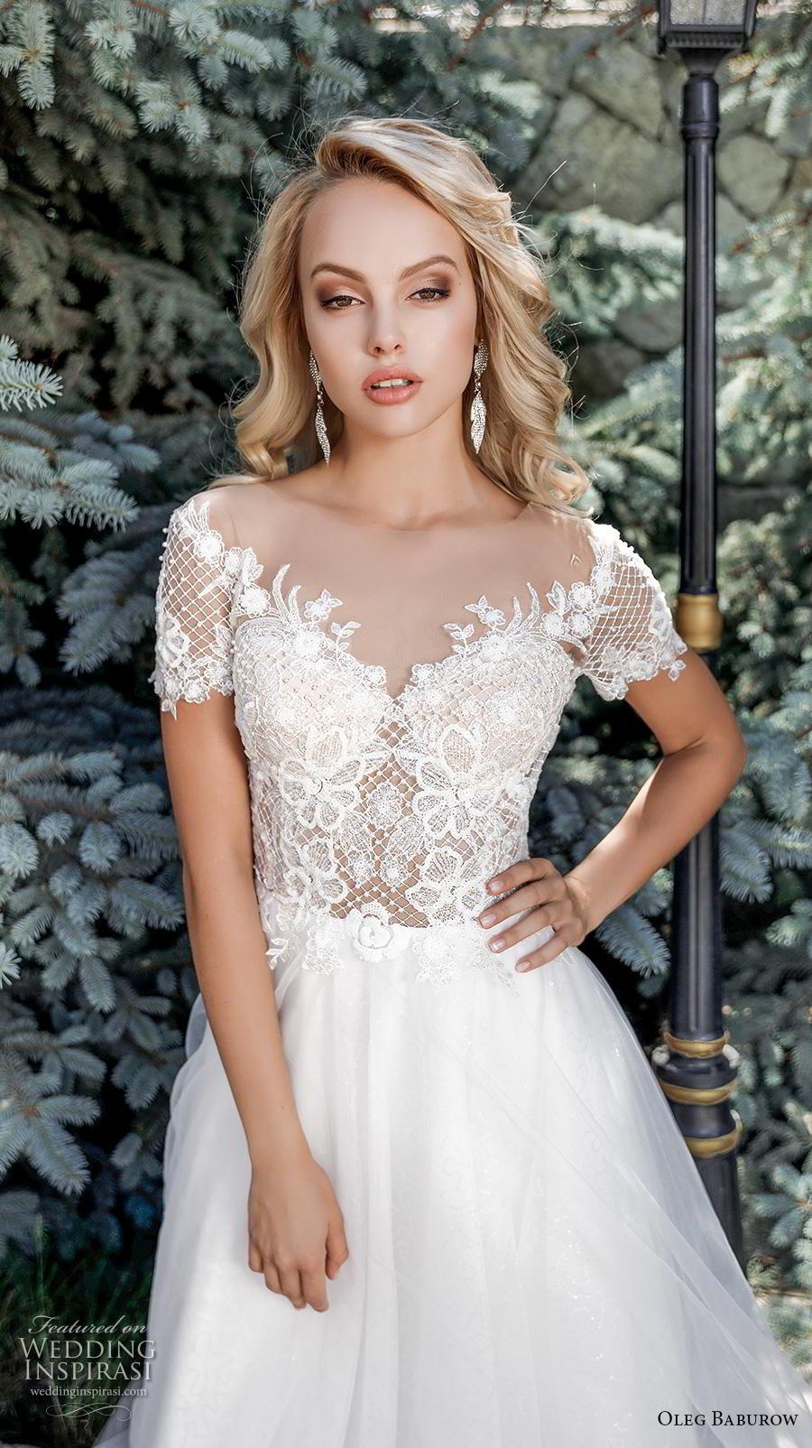 oleg baburow 2020 bridal short sleeves v neck heavily embellished bodice romantic a  line wedding dress v back chapel train (14) zv
