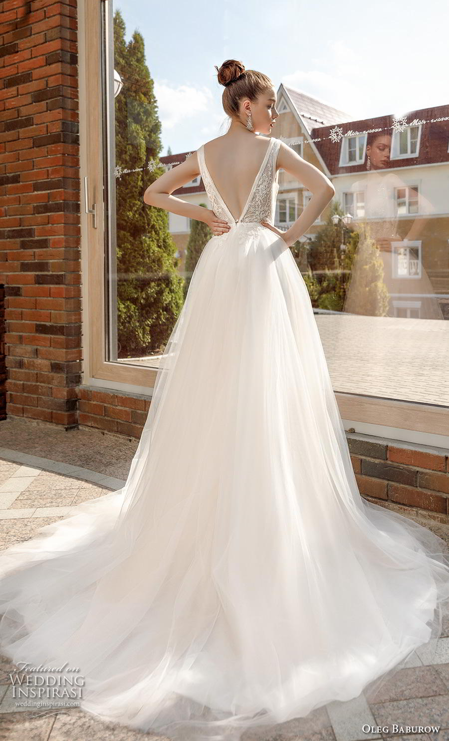oleg baburow 2020 bridal sleeveless deep plunging v neck heavily embellished bodice sexy romantic a  line wedding dress backless v back chapel train (5) bv