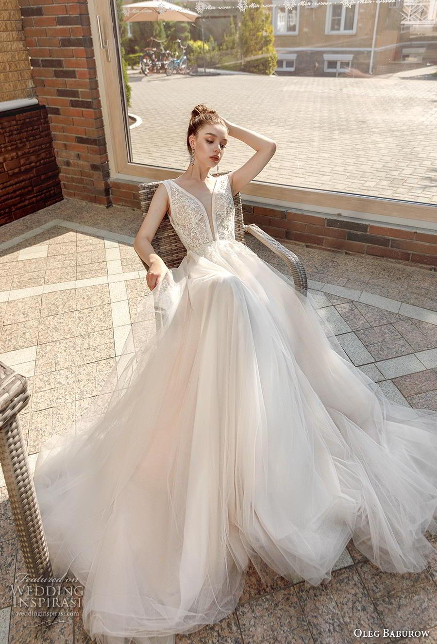 oleg baburow 2020 bridal sleeveless deep plunging v neck heavily embellished bodice sexy romantic a  line wedding dress backless v back chapel train (5) mv