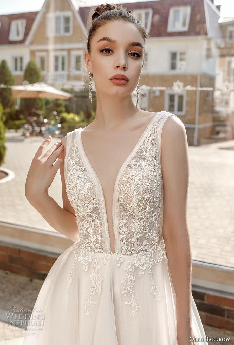oleg baburow 2020 bridal sleeveless deep plunging v neck heavily embellished bodice sexy romantic a  line wedding dress backless v back chapel train (5) zv