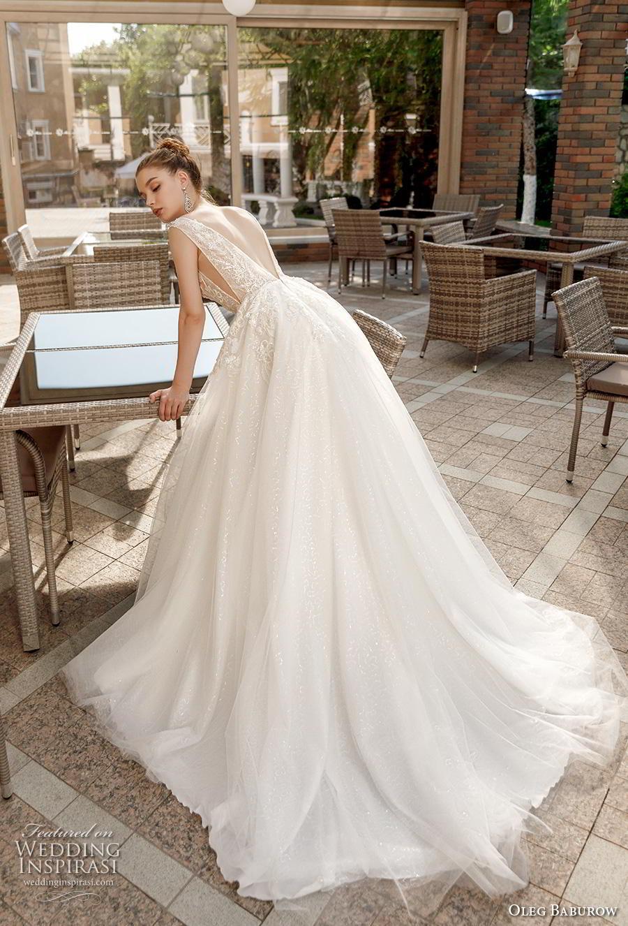 oleg baburow 2020 bridal sleeveless deep v neck heavily embellished bodice romantic soft a  line wedding dress backless v back chapel train (9) bv