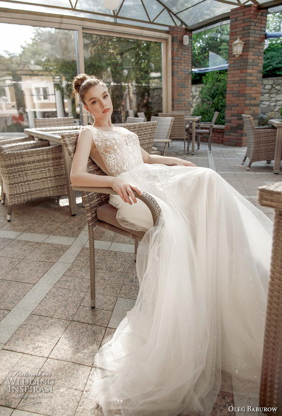 oleg baburow 2020 bridal sleeveless deep v neck heavily embellished bodice romantic soft a  line wedding dress backless v back chapel train (9) mv