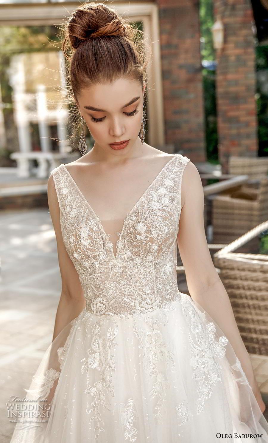 oleg baburow 2020 bridal sleeveless deep v neck heavily embellished bodice romantic soft a  line wedding dress backless v back chapel train (9) zv