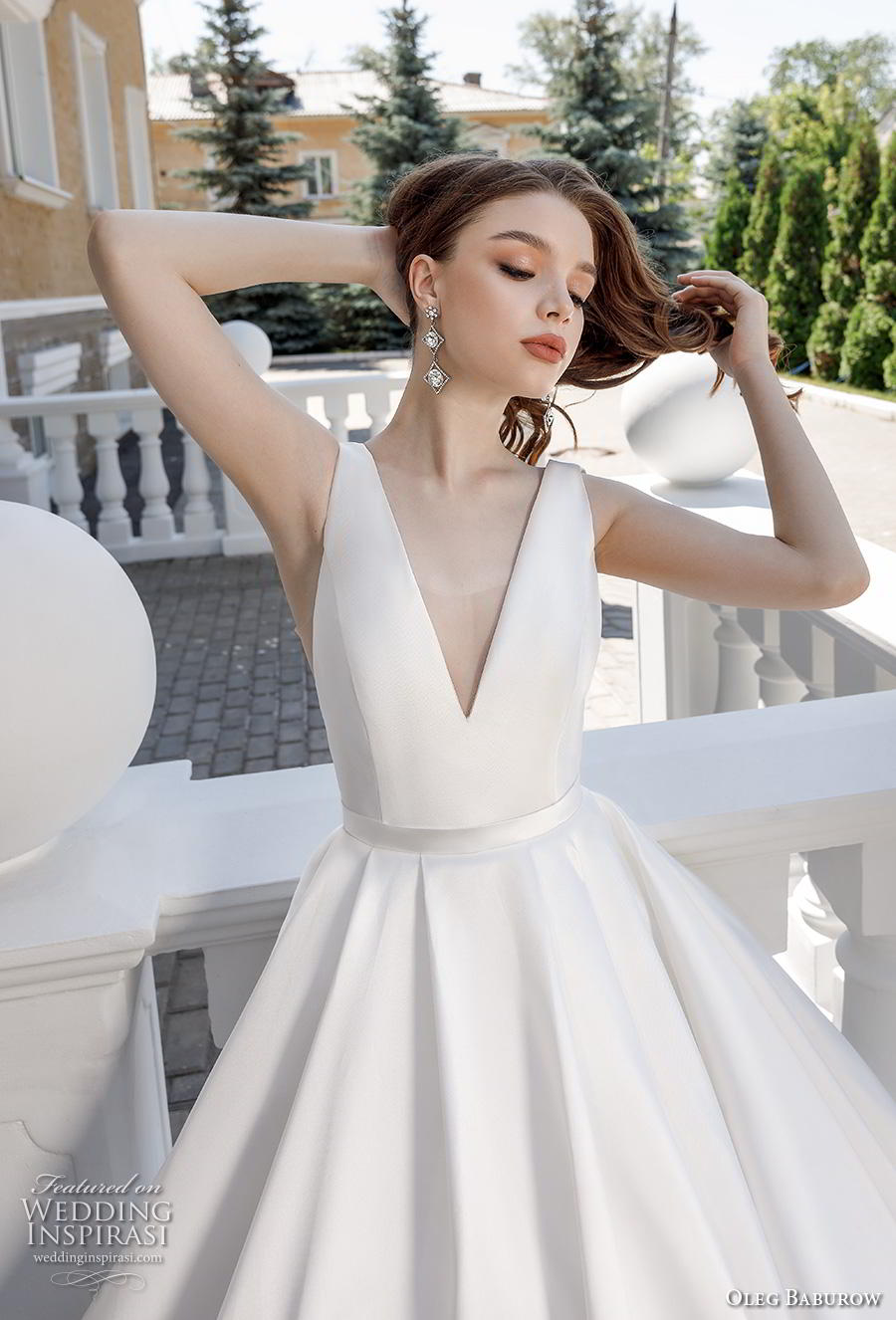 oleg baburow 2020 bridal sleeveless deep v neck simple minimalist elegant a  line wedding dress with pockets backless v back chapel train (12) zv