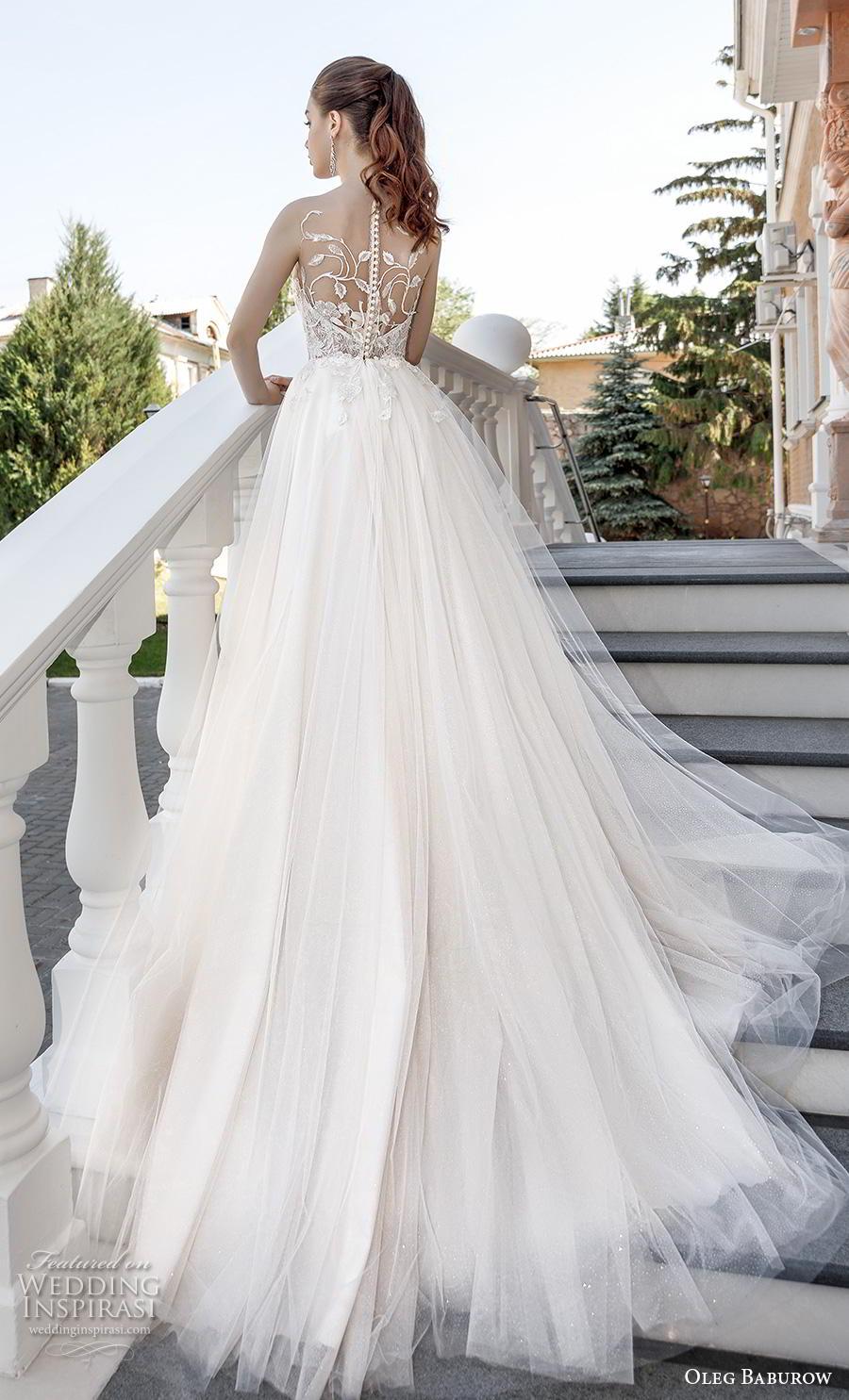 oleg baburow 2020 bridal sleeveless illision jewel sweetheart neckline heavily embellished bodice busiter romantic soft a  line wedding dress lace button back chapel train (10) bv