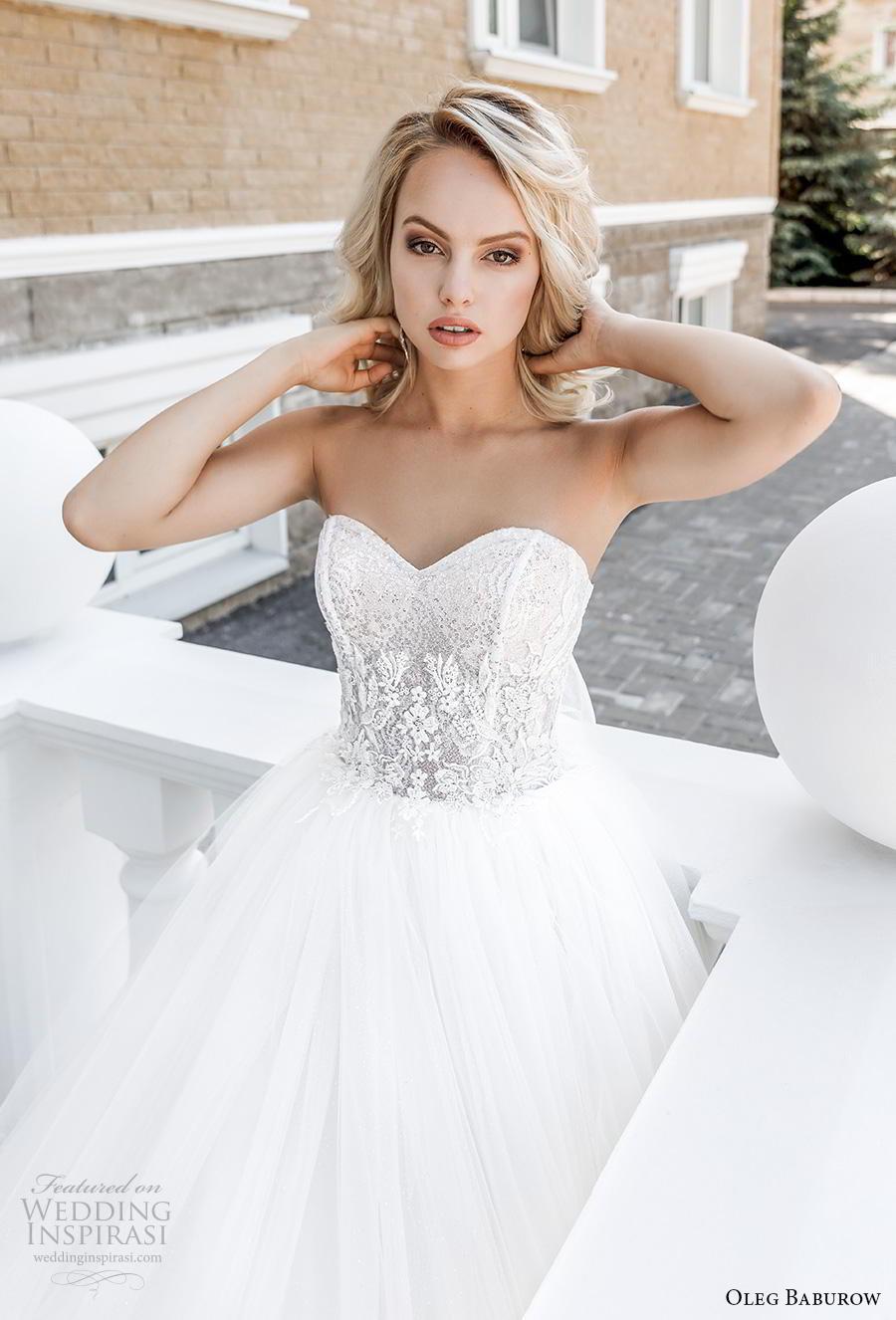 oleg baburow 2020 bridal strapless sweetheart neckline heavily embellished bodice ball gown a  line wedding dress mid back sweep train (8) zv