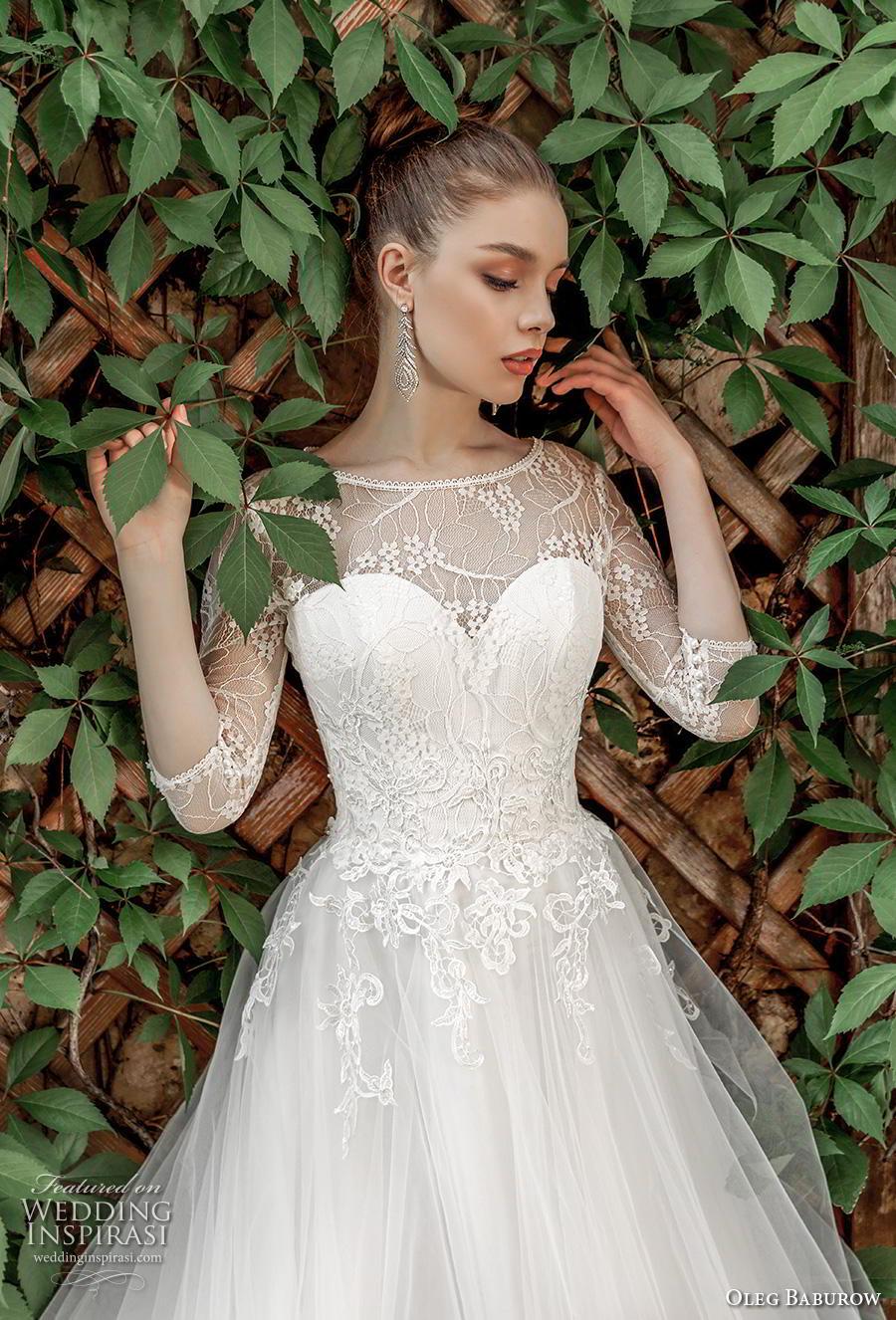 oleg baburow 2020 bridal three quarter sleeves illusion bateau sweetheart neckline heavily embellished bodice romantic a  line wedding dress lace button back chapel train (17) zv