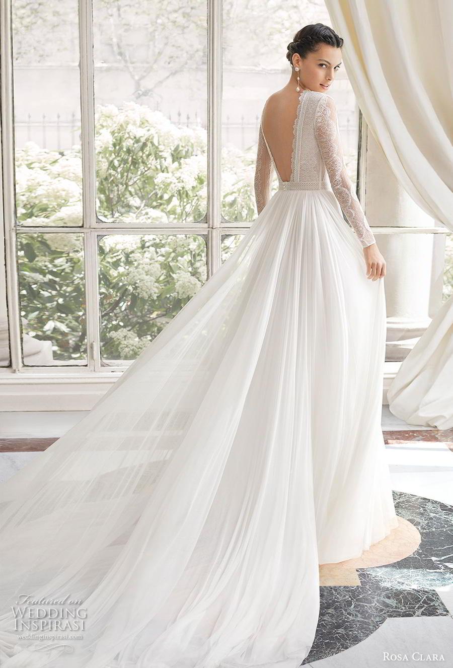rosa clara 2019 couture bridal long bishop sleeves jewel neck heavily embellished bodice elegant soft a  line wedding dress backless v back chapel train (4) bv