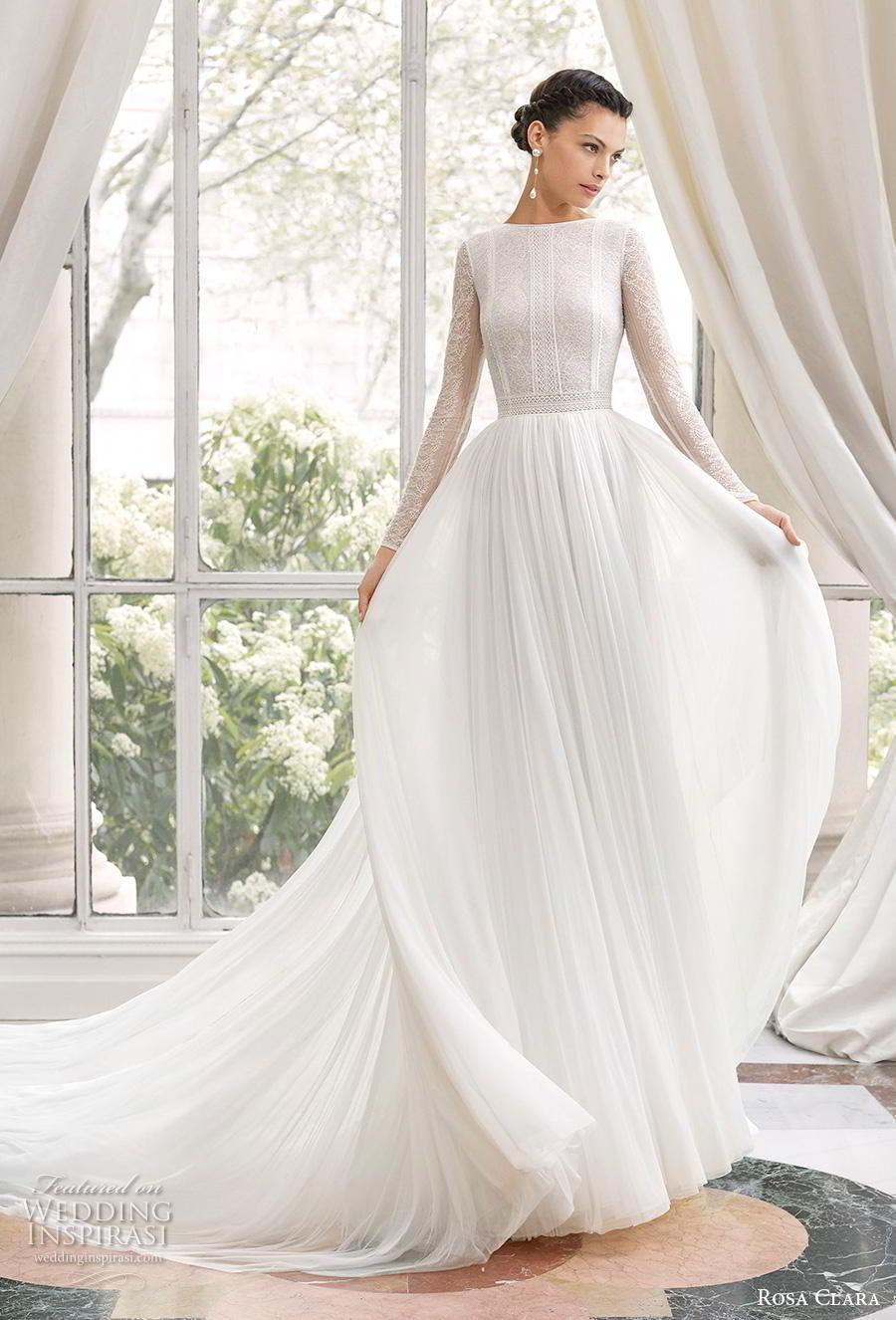rosa clara 2019 couture bridal long bishop sleeves jewel neck heavily embellished bodice elegant soft a  line wedding dress backless v back chapel train (4) mv