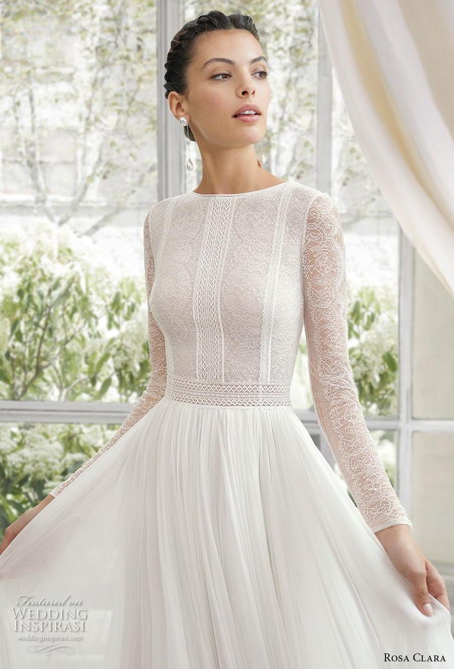rosa clara 2019 couture bridal long bishop sleeves jewel neck heavily embellished bodice elegant soft a  line wedding dress backless v back chapel train (4) zv