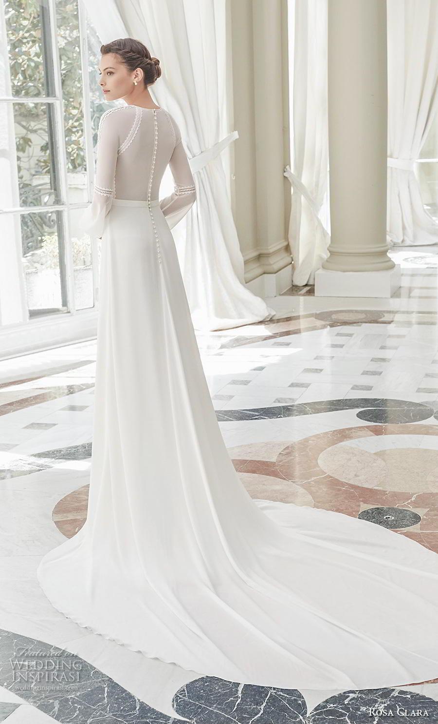 rosa clara 2019 couture bridal long bishop sleeves jewel neck heavily embellished bodice slit skirt elegant modified a  line wedding dress covered back chapel train (3) bv
