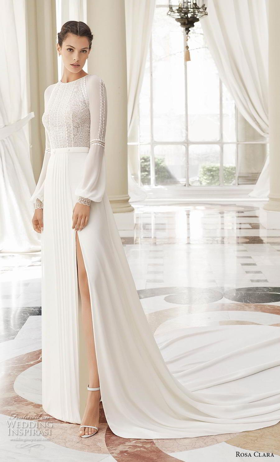 rosa clara 2019 couture bridal long bishop sleeves jewel neck heavily embellished bodice slit skirt elegant modified a  line wedding dress covered back chapel train (3) mv