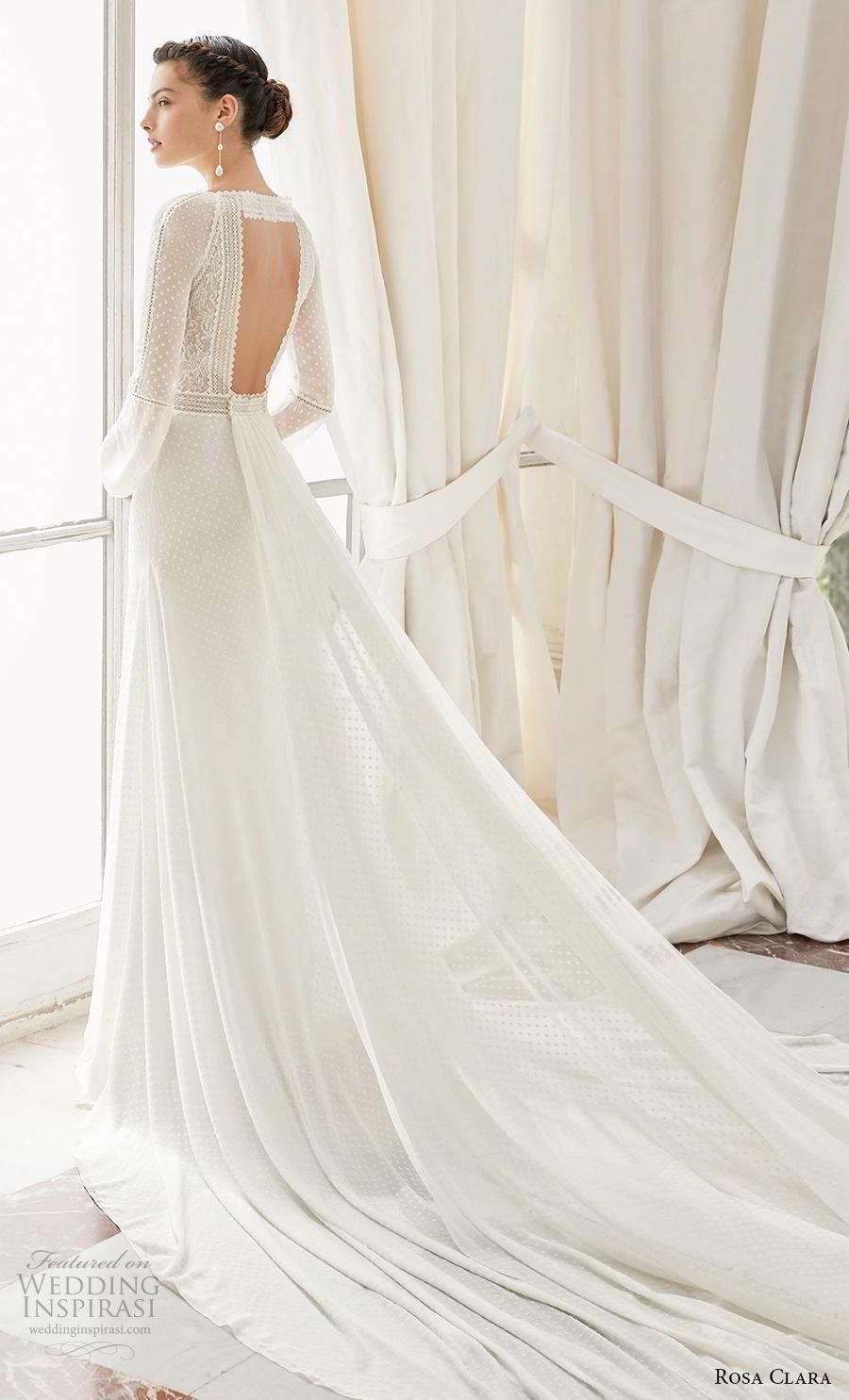 rosa clara 2019 couture bridal long bishop sleeves v neck heavily embellished bodice elegant modified a  line wedding dress keyhole back chapel train (14) bv
