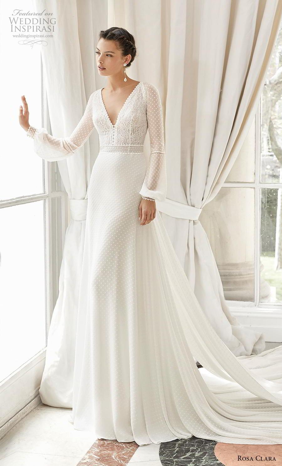 rosa clara 2019 couture bridal long bishop sleeves v neck heavily embellished bodice elegant modified a  line wedding dress keyhole back chapel train (14) mv