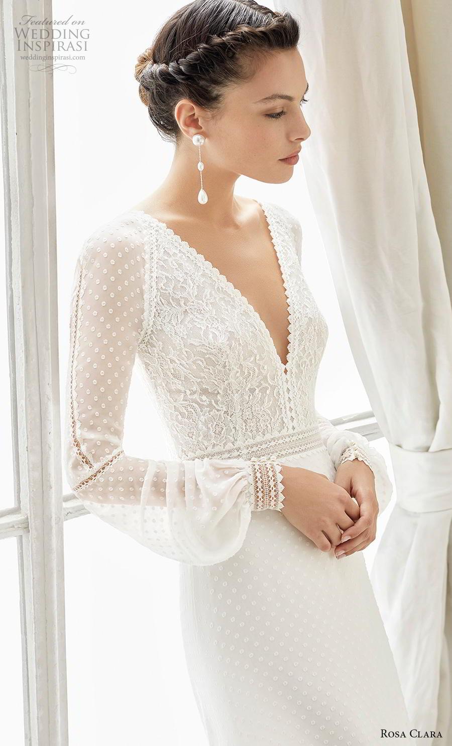 rosa clara 2019 couture bridal long bishop sleeves v neck heavily embellished bodice elegant modified a  line wedding dress keyhole back chapel train (14) zv