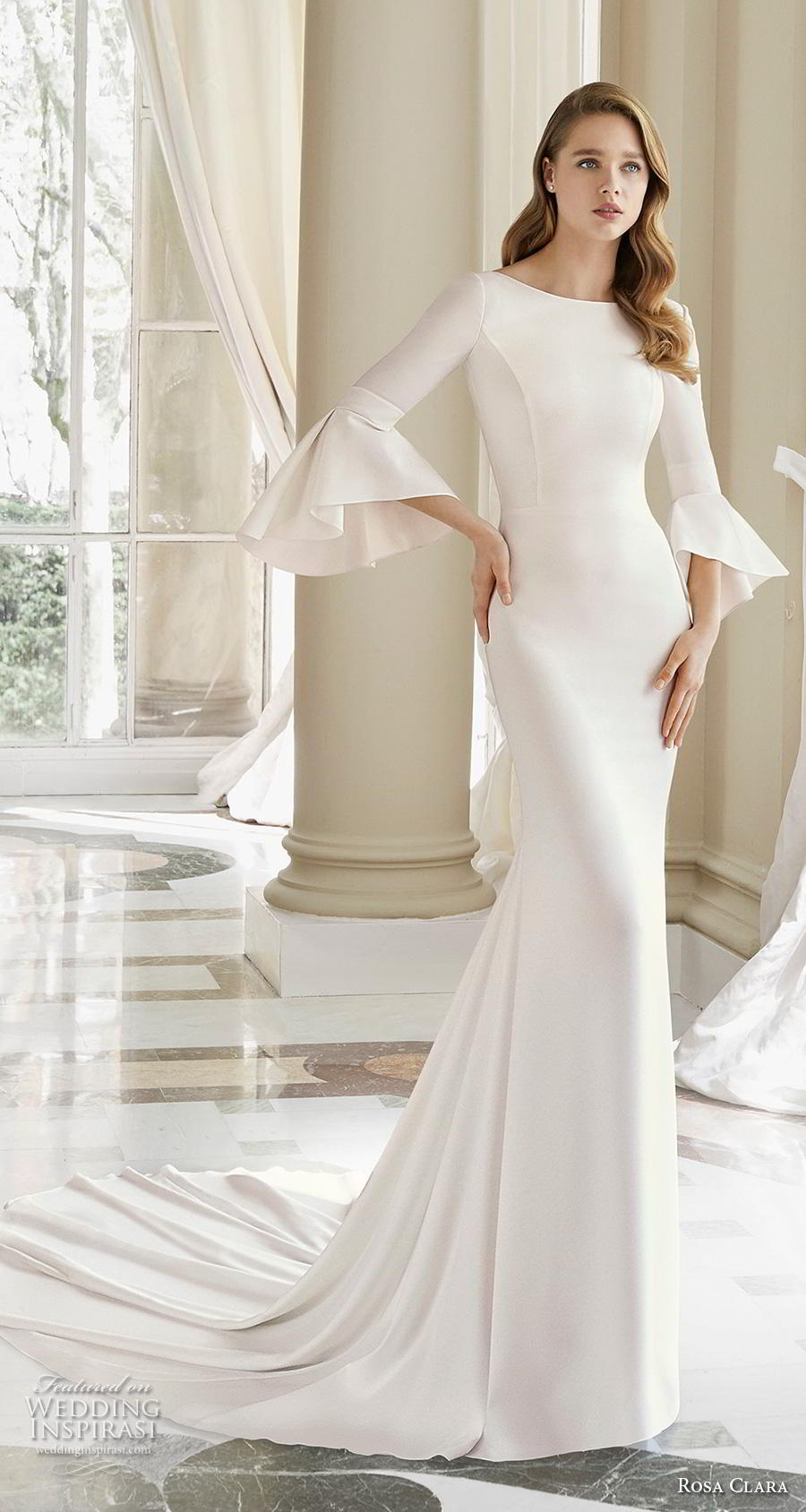 rosa clara 2019 couture bridal long lantern sleeves bateau neckline simple minimalist elegant sheath wedding dress v back chapel train (8) mv