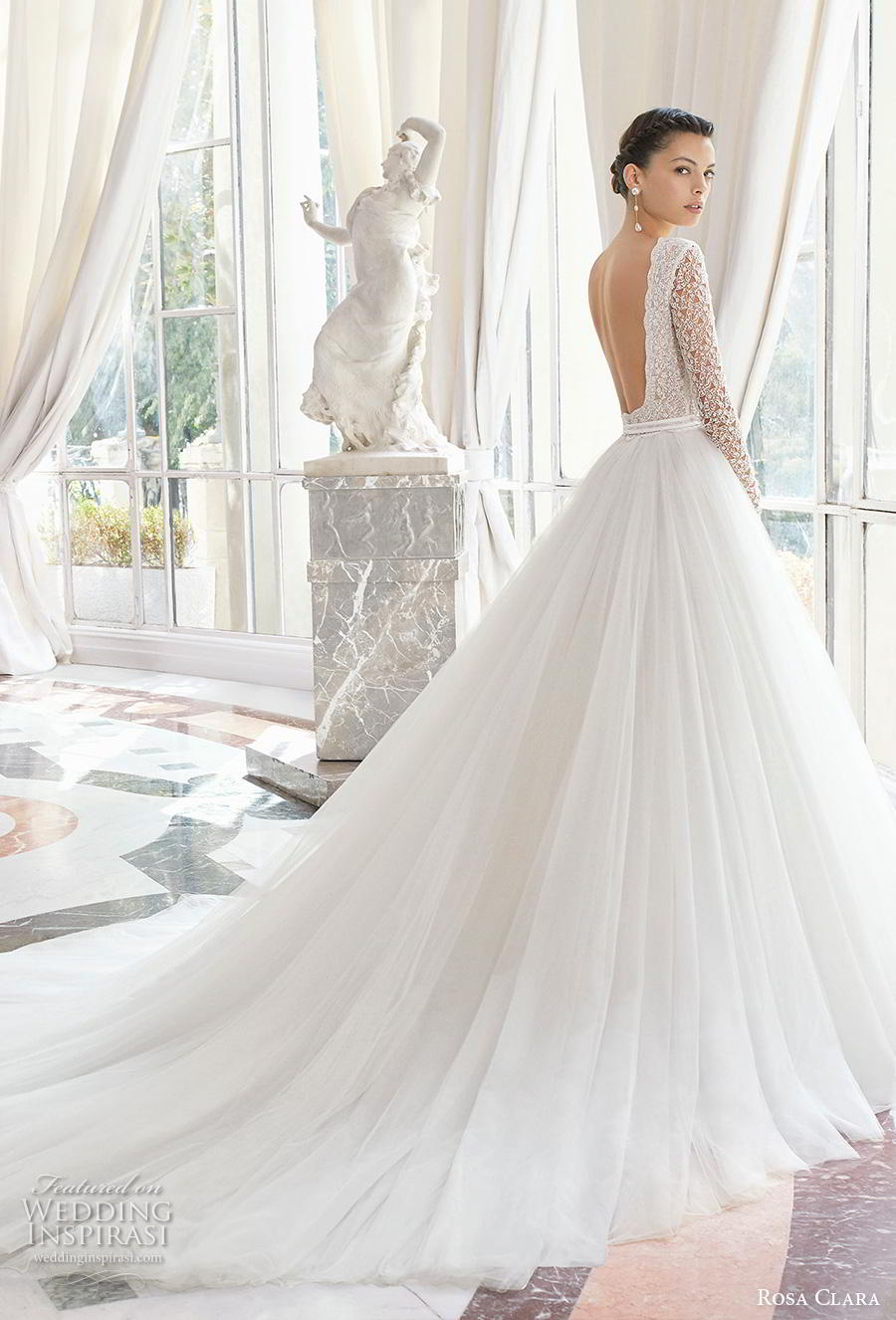 rosa clara 2019 couture bridal long sleeves bateau neckline heavily embellished bodice romantic a  line wedding dress backless chapel train (11) bv