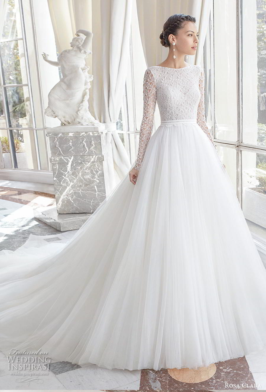 rosa clara 2019 couture bridal long sleeves bateau neckline heavily embellished bodice romantic a  line wedding dress backless chapel train (11) mv