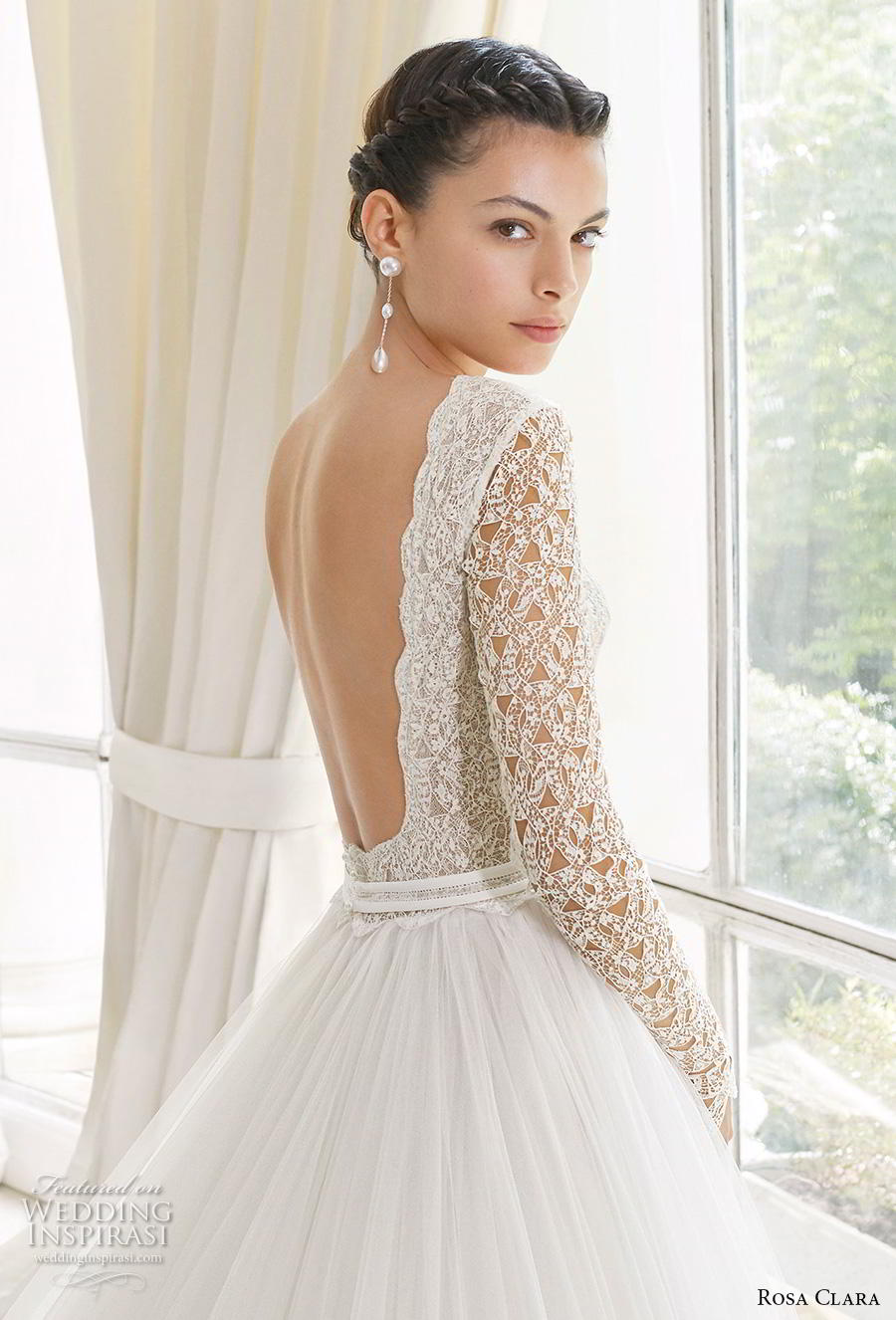 rosa clara 2019 couture bridal long sleeves bateau neckline heavily embellished bodice romantic a  line wedding dress backless chapel train (11) zbv