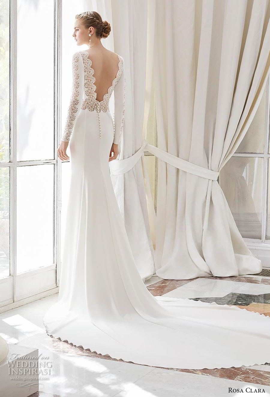 rosa clara 2019 couture bridal long sleeves bateau neckline simple minimalist elegant fit and flare sheath wedding dress v back chapel train (7) bv