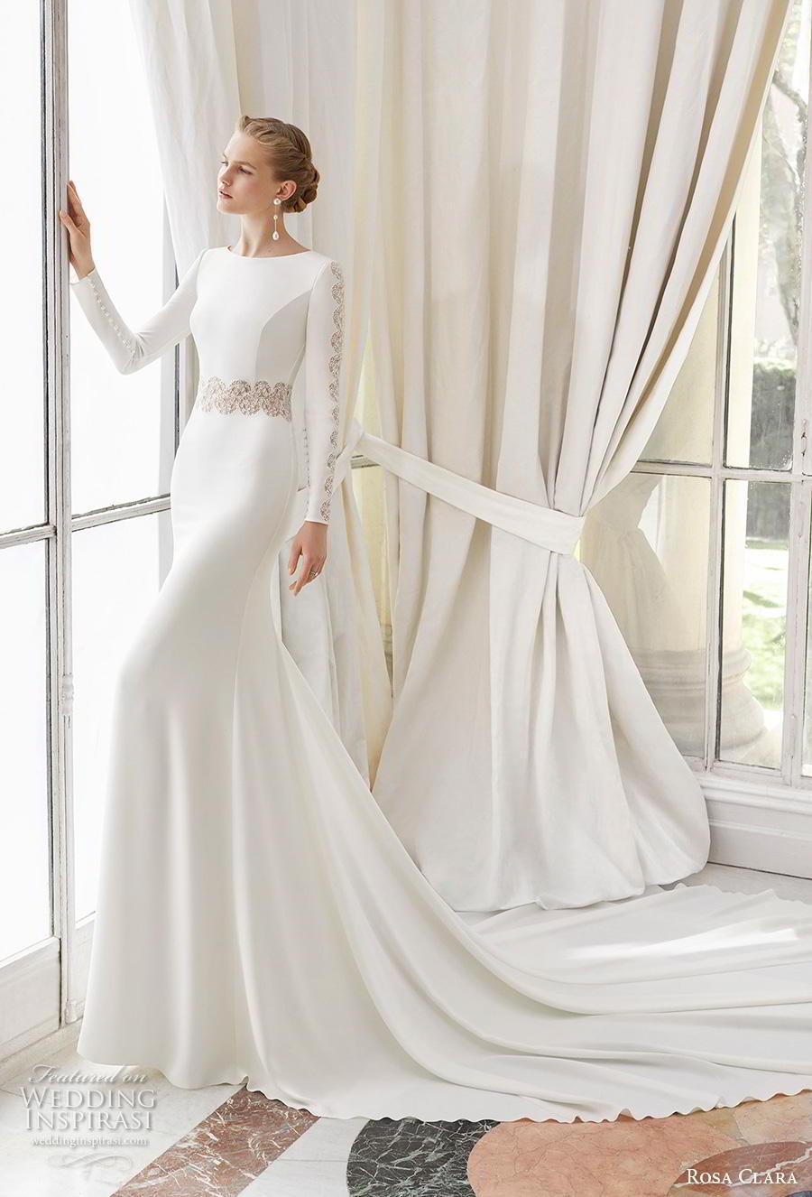 rosa clara 2019 couture bridal long sleeves bateau neckline simple minimalist elegant fit and flare sheath wedding dress v back chapel train (7) mv